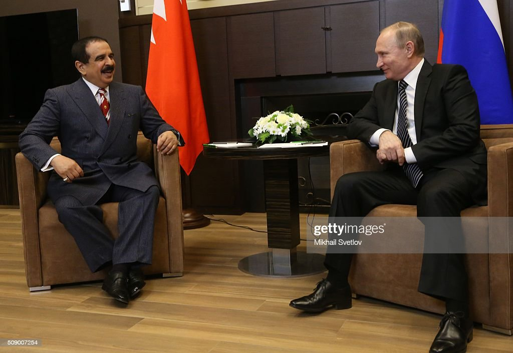 Russian President Vladimir Putin (R) listens to King of Bahrain Hamad bin Isa bin Salman Al Khalifa (L) in Bicharov Ruchey State Residence in Sochi, Russia, on February, 8, 2016. Bahrain's King is having a one-day visit to Black Sea resort of Sochi.