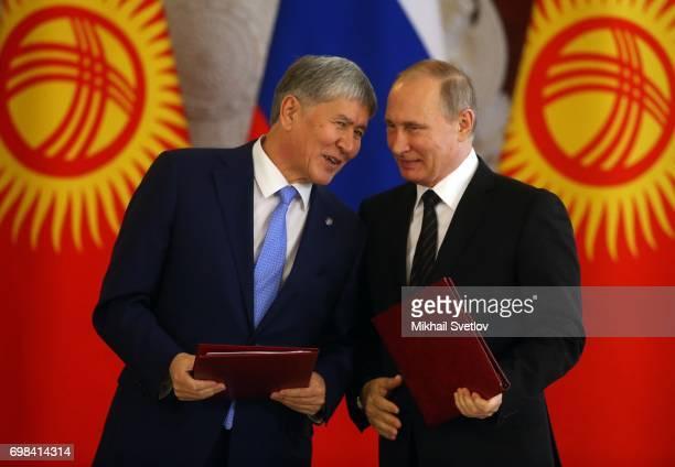Russian President Vladimir Putin listens to Kyrgyz President Almazbek Atambayev during their talks at the Grand Kremlin Palace on June 20 2017 in...