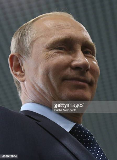 Russian President Vladimir Putin looks on during a visit to 'Moskvarium' the center of oceanography and marine biology in VDNKh on August 4 2015 in...