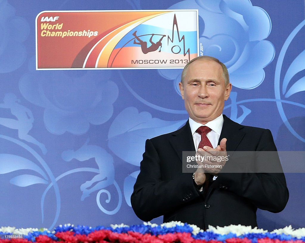 Russian President <a gi-track='captionPersonalityLinkClicked' href=/galleries/search?phrase=Vladimir+Putin&family=editorial&specificpeople=154896 ng-click='$event.stopPropagation()'>Vladimir Putin</a> looks on during the opening ceremony during Day One of the 14th IAAF World Athletics Championships Moscow 2013 at Luzhniki Stadium on August 10, 2013 in Moscow, Russia.