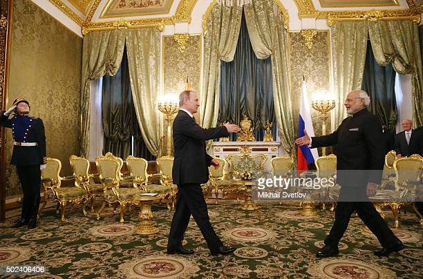 Russian President Vladimir Putin meets Indian Prime Minister Narendra Modi in Grand Kremlin Palace on December 24 2015 in Moscow Russia Narendra Modi...