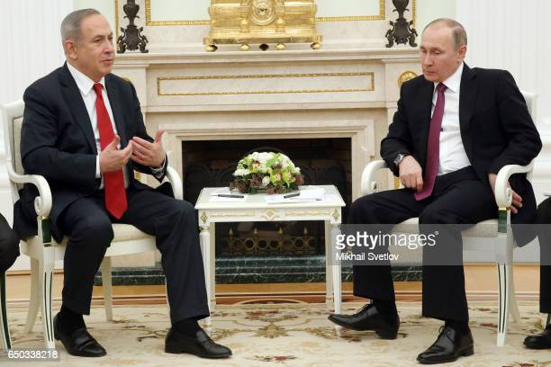 Russian President Vladimir Putin meets Israeli Prime Minister Benjamin Netanyahu during their talks at the Kremlin on March 9 2017 in Moscow Russia...