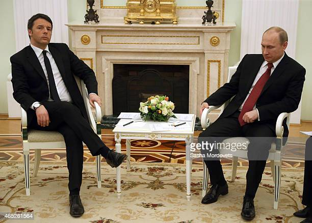 Russian President Vladimir Putin meets Italian Prime Minister Matteo Renzi twoday visit to Russia at the Kremlin on March 5 2015 in Moscow Russia...