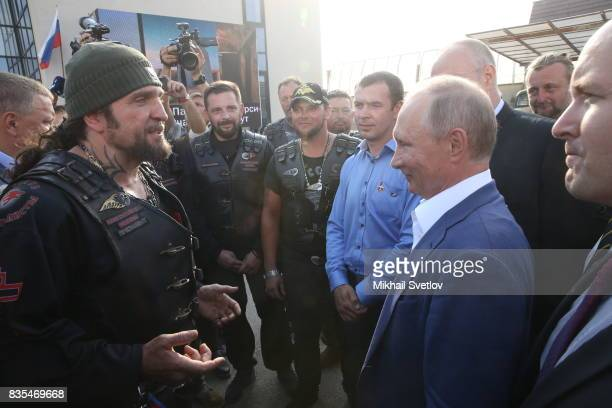 Russian President Vladimir Putin meets Night Wolves Bikers Club President Alexander Zaldostanov also known as 'Khirurg' and bikers from Germany on...