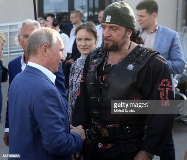 Russian President Vladimir Putin meets Night Wolves Bikers Club President Alexander Zaldostanov also known as 'Khirurg' on August 18 2017 on...
