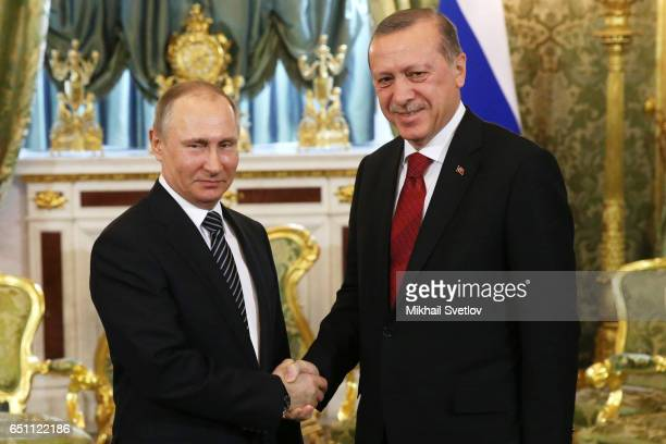 Russian President Vladimir Putin meets Turkish President Recep Tayyip Erdogan during talks at the Kremlin on March 10 2017 in Moscow Russia Erdogan...