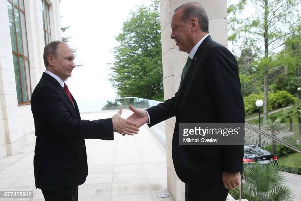 Russian President Vladimir Putin meets Turkish President Recep Tayyip Erdogan at Bocharov ruchey state residence at Black Sea resort of Sochi May 3...
