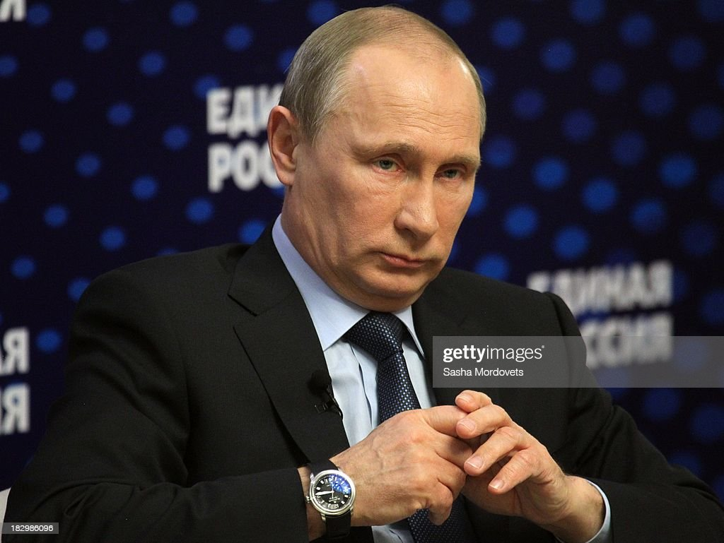 Russian President <a gi-track='captionPersonalityLinkClicked' href=/galleries/search?phrase=Vladimir+Putin&family=editorial&specificpeople=154896 ng-click='$event.stopPropagation()'>Vladimir Putin</a> meets with activists of the ruling party United Russia on October 3, 2013 in Moscow, Russia. Putin meets the heads of grassroot organizations of the ruling United Russia party as part of the United Russia party congress.