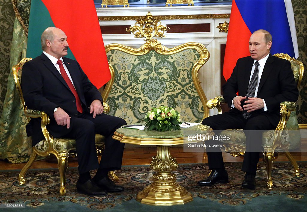Russian President <a gi-track='captionPersonalityLinkClicked' href=/galleries/search?phrase=Vladimir+Putin&family=editorial&specificpeople=154896 ng-click='$event.stopPropagation()'>Vladimir Putin</a> meets with Belarussian President <a gi-track='captionPersonalityLinkClicked' href=/galleries/search?phrase=Alexander+Lukashenko&family=editorial&specificpeople=542572 ng-click='$event.stopPropagation()'>Alexander Lukashenko</a> in the Grand Kremlin Palace, March 3, 2015 in Moscow, Russia. Lukashenko has arrived in Moscow to participate in the Russian-Belarussian State Council.