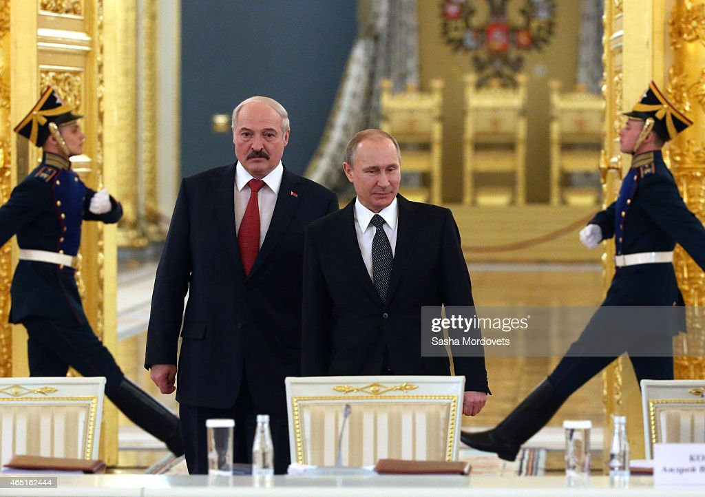 Russian President <a gi-track='captionPersonalityLinkClicked' href=/galleries/search?phrase=Vladimir+Putin&family=editorial&specificpeople=154896 ng-click='$event.stopPropagation()'>Vladimir Putin</a> meets with Belarussian President <a gi-track='captionPersonalityLinkClicked' href=/galleries/search?phrase=Alexander+Lukashenko&family=editorial&specificpeople=542572 ng-click='$event.stopPropagation()'>Alexander Lukashenko</a> in the Grand Kremlin Palace, March 3, 2015 in Moscow, Russia. Lukashenko is visiting Moscow to participate in the Russian-Belarussian State Council.