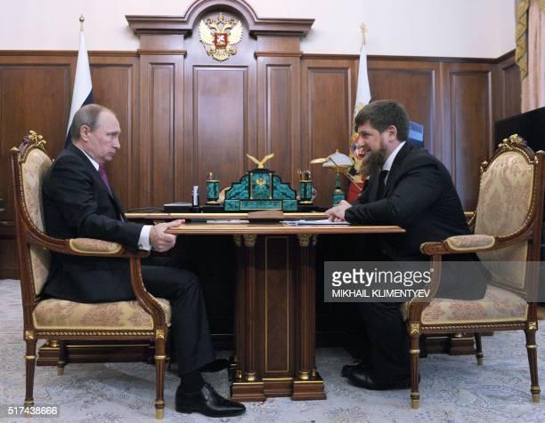 Russian President Vladimir Putin meets with Chechnya's leader Ramzan Kadyrov at the Kremlin on March 25 2016 AFP PHOTO / SPUTNIK / MIKHAIL KLIMENTYEV...