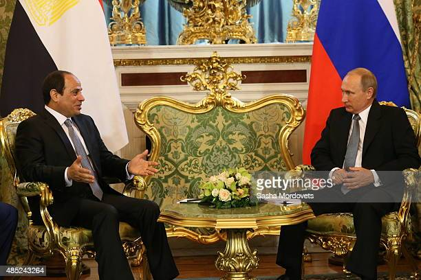 Russian President Vladimir Putin meets with Egyptian President Abdel Fattah ElSisi in the Grand Kremlin Palace on August 26 2015 in Moscow Russia The...