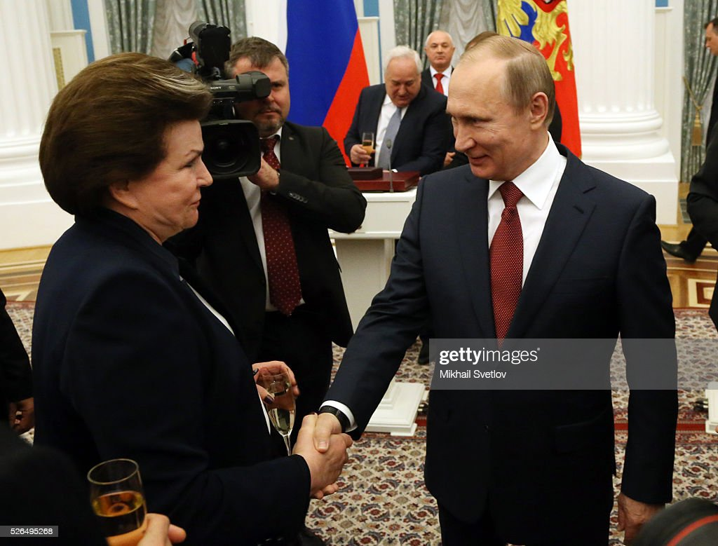 Russian President Vladimir Putin meets with First Female Cosmonaut Valentina Tereshkova during the awarding ceremony at the Kremlin April, 30, 2016 in Moscow, Russia. Putin presented Hero of Labour medals to five winners. The awards were given to Russians who made a considerable contribution to the country's social and economic development, including development of culture, education, industry and agriculture.
