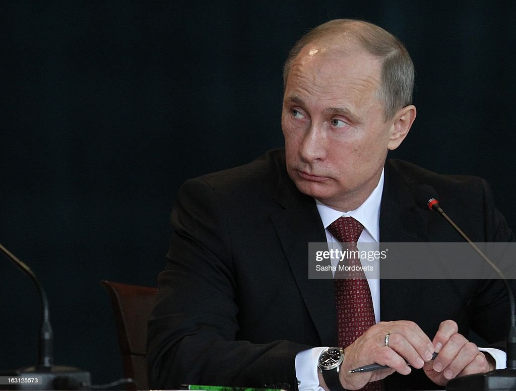 Russian President <a gi-track='captionPersonalityLinkClicked' href=/galleries/search?phrase=Vladimir+Putin&family=editorial&specificpeople=154896 ng-click='$event.stopPropagation()'>Vladimir Putin</a> meets with General Prosecutors office on March 5 ,2013 in Moscow, Russia. Putin delivered his annual speech to prosecutors.