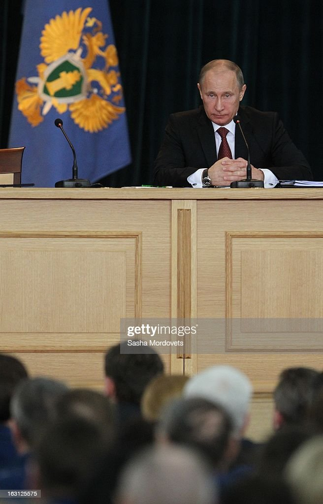 Russian President Vladimir Putin meets with General Prosecutors office on March 5 ,2013 in Moscow, Russia. Putin delivered his annual speech to prosecutors.