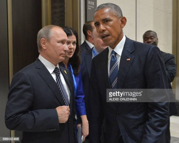 Russian President Vladimir Putin meets with his US counterpart Barack Obama on the sidelines of the G20 Leaders Summit in Hangzhou on September 5...