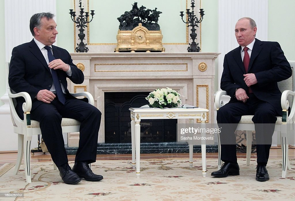 Russian President <a gi-track='captionPersonalityLinkClicked' href=/galleries/search?phrase=Vladimir+Putin&family=editorial&specificpeople=154896 ng-click='$event.stopPropagation()'>Vladimir Putin</a> (R) meets with Hungarian Prime Minister <a gi-track='captionPersonalityLinkClicked' href=/galleries/search?phrase=Viktor+Orban&family=editorial&specificpeople=4685765 ng-click='$event.stopPropagation()'>Viktor Orban</a> (L) in the Kremlin on January 31, 2013 in Moscow, Russia. Orban is on a one-day visit to Russia.