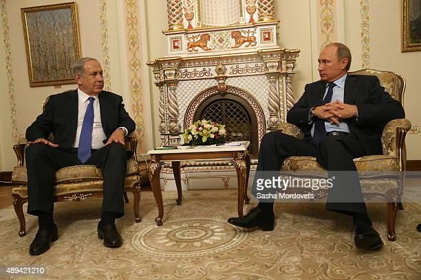 Russian President Vladimir Putin meets with Israel's Prime Minister Benjamin Netanyahu during their talks in NovoOgaryovos State Residence on...