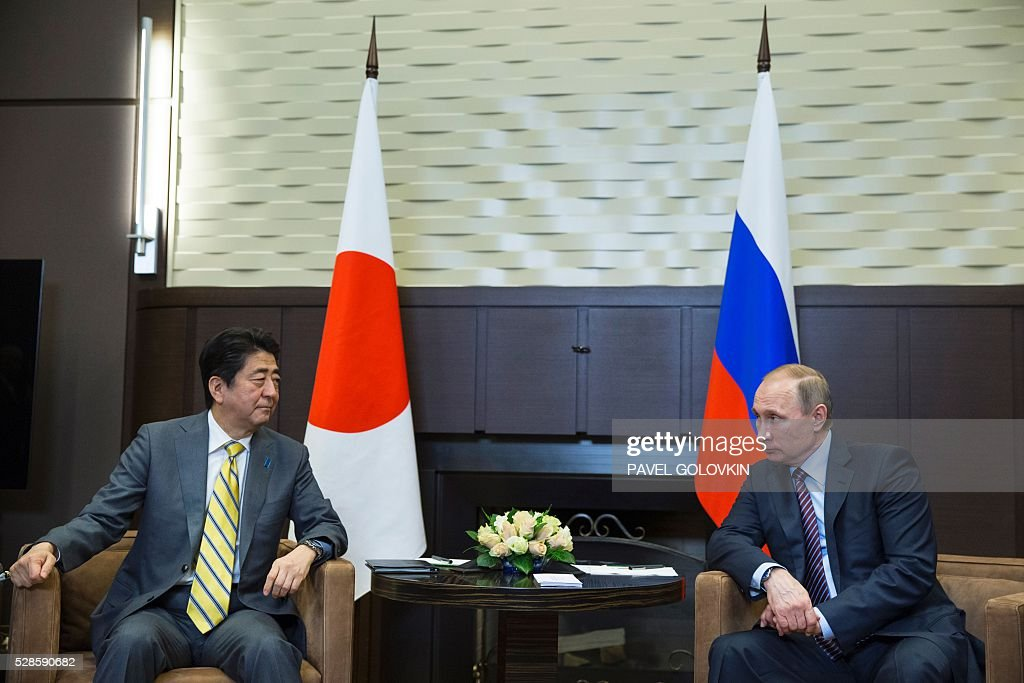 Russian President Vladimir Putin (R) meets with Japanese Prime Minister Shinzo Abe at the Bocharov Ruchei state residence in Sochi on May 6, 2016. / AFP / POOL / Pavel Golovkin