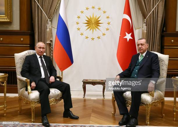 Russian President Vladimir Putin meets with President of Turkey Recep Tayyip Erdogan following an official welcoming ceremony at Presidential Complex...