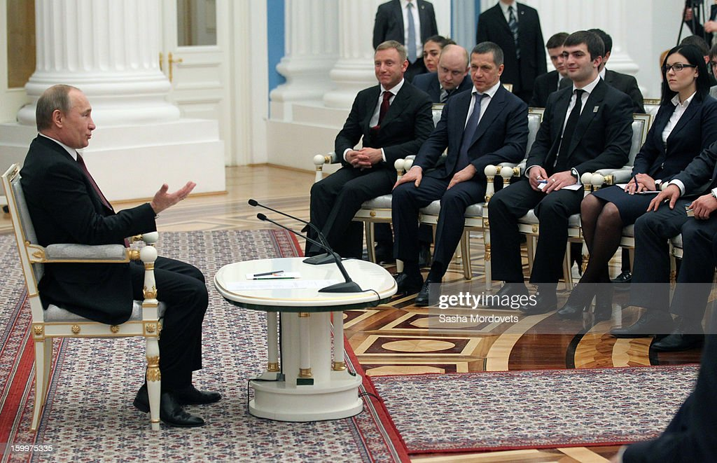 Russian President <a gi-track='captionPersonalityLinkClicked' href=/galleries/search?phrase=Vladimir+Putin&family=editorial&specificpeople=154896 ng-click='$event.stopPropagation()'>Vladimir Putin</a> meets with students' sport clubs members January 24, 2013 in Moscow, Russia. Putin received 20 new foreign ambassadors.