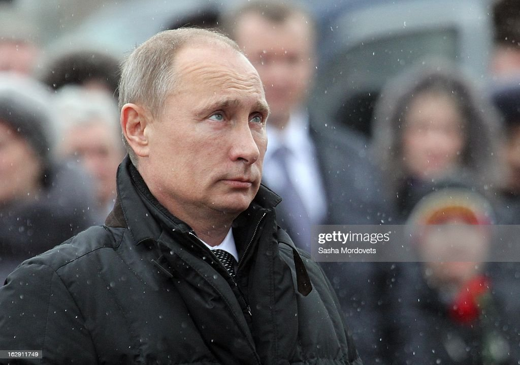 Russian President <a gi-track='captionPersonalityLinkClicked' href=/galleries/search?phrase=Vladimir+Putin&family=editorial&specificpeople=154896 ng-click='$event.stopPropagation()'>Vladimir Putin</a> meets with the 6th Company Paratrooper Regiment on March 1, 2013 in Pskov, Russia. President Putin visited a memorial in western Russia to honour 84 soldiers killed in Chechnya.