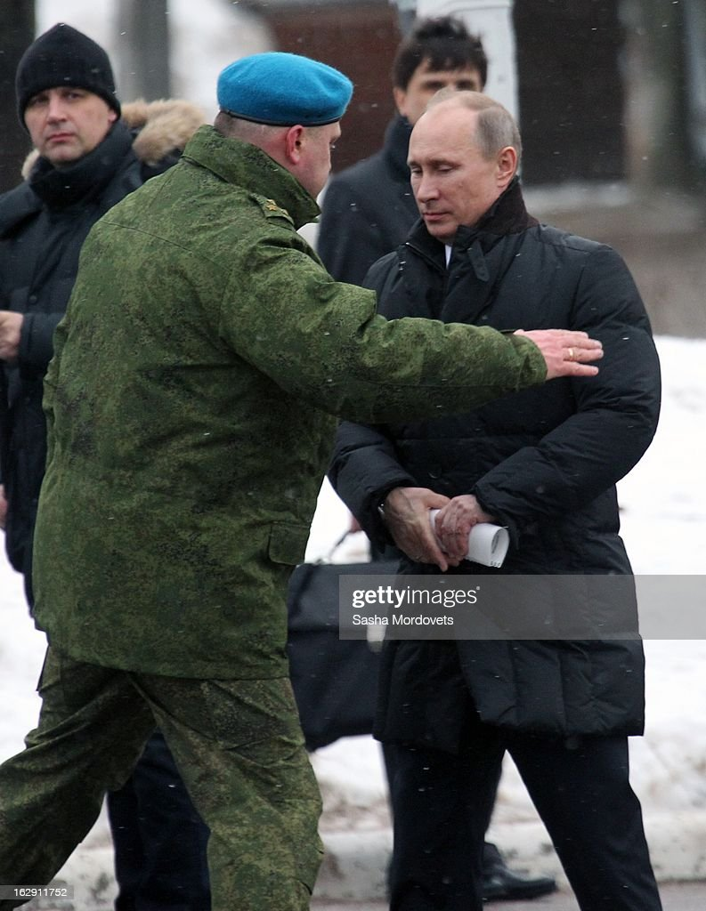 Russian President Vladimir Putin meets with the 6th Company Paratrooper Regiment on March 1, 2013 in Pskov, Russia. President Putin visited a memorial in western Russia to honour 84 soldiers killed in Chechnya.