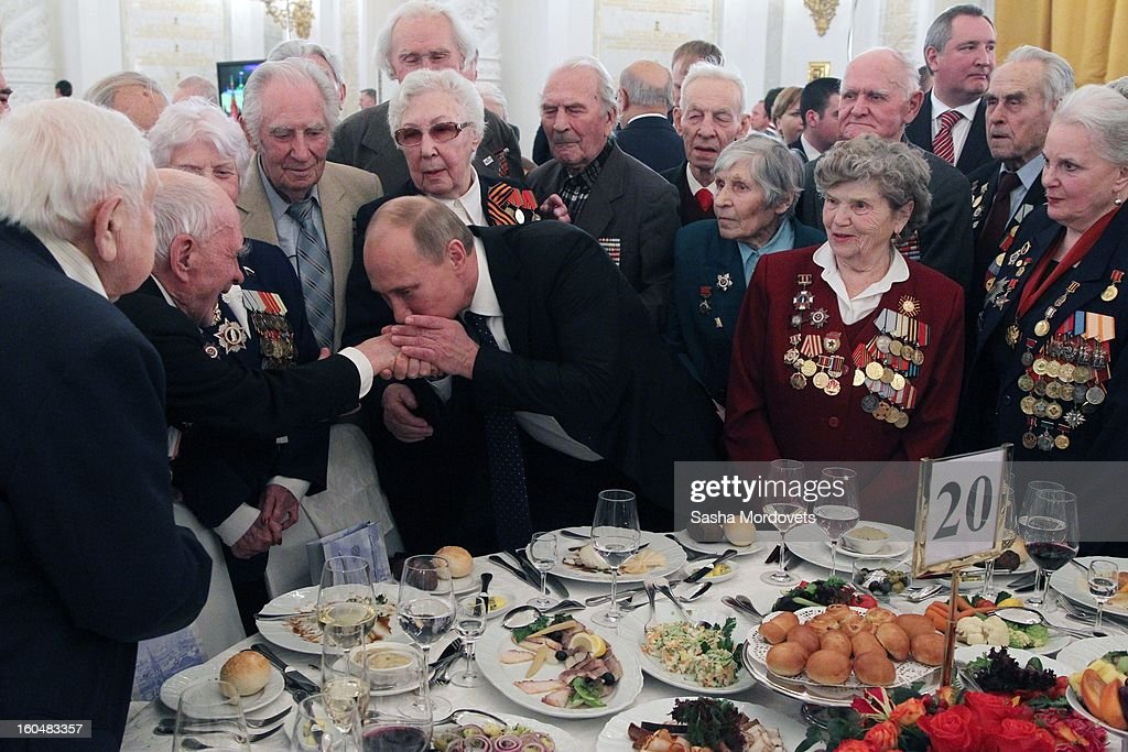 Russian President <a gi-track='captionPersonalityLinkClicked' href=/galleries/search?phrase=Vladimir+Putin&family=editorial&specificpeople=154896 ng-click='$event.stopPropagation()'>Vladimir Putin</a> meets with veterans of the Battle of Stalingrad in the Grand Kremlin Palace February,1,2013 in Moscow, Russia. The meeting comes ahead of Putin's visit to Stalingrad tomorrow for a military parade commemorating the battle that proved pivotal in World War II.