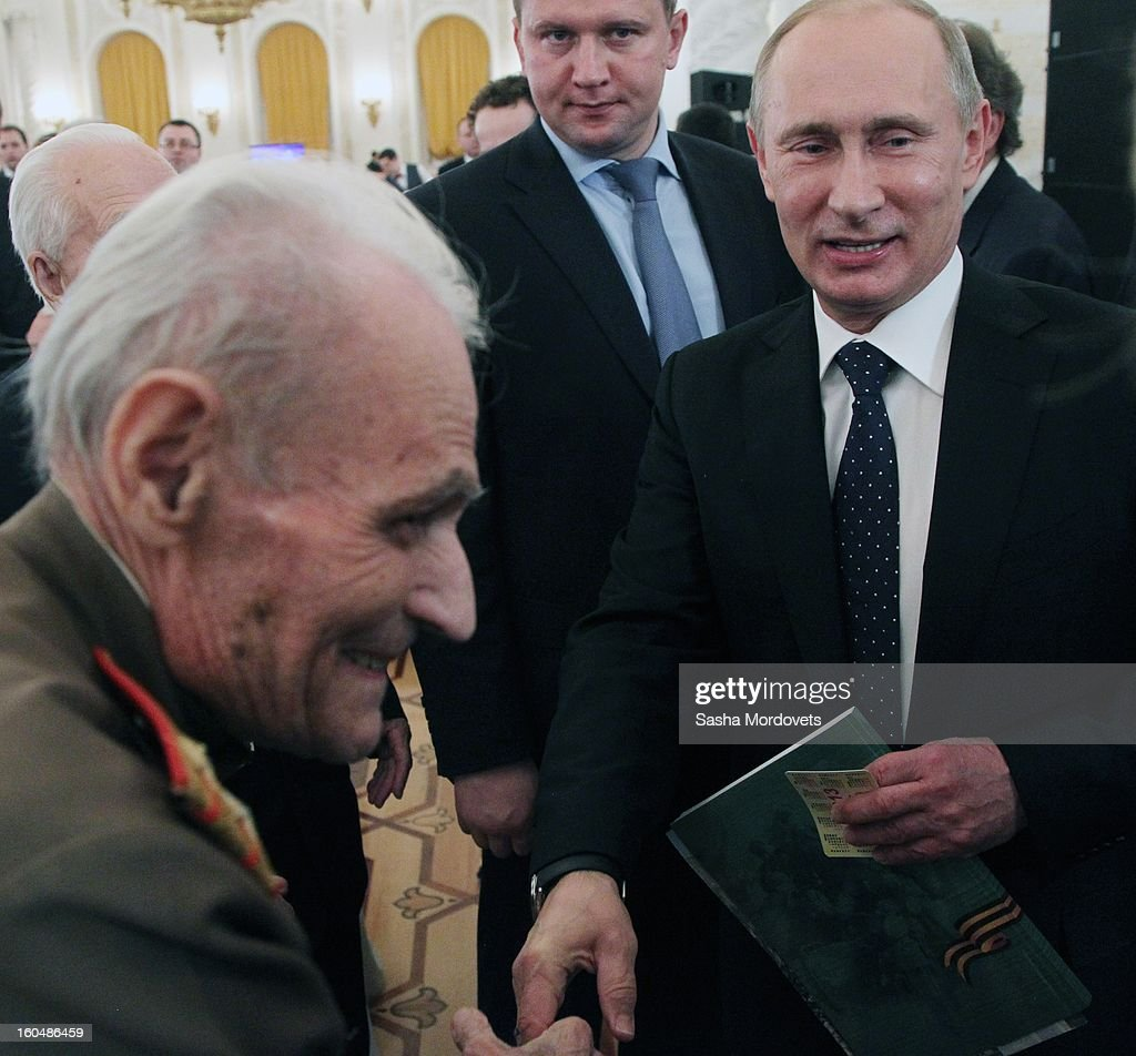 Russian President Vladimir Putin meets with veterans of the Battle of Stalingrad in the Grand Kremlin Palace February,1,2013 in Moscow, Russia. The meeting comes ahead of Putin's visit to Stalingrad tomorrow for a military parade commemorating the battle that proved pivotal in World War II.