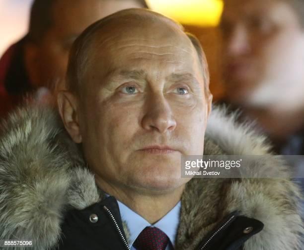 Russian President Vladimir Putin observes the LNG plant in Sabetta sea port at Yamal peninsula in Siberia Russia December2017 Vladimir Putin is...