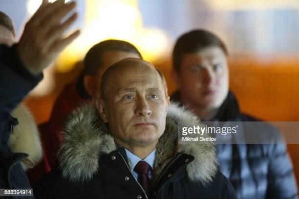 Russian President Vladimir Putin observes the new LNG plant in Sabetta sea port at Yamal peninsula in Siberia Russia December 8 2017 Vladimit Putin...