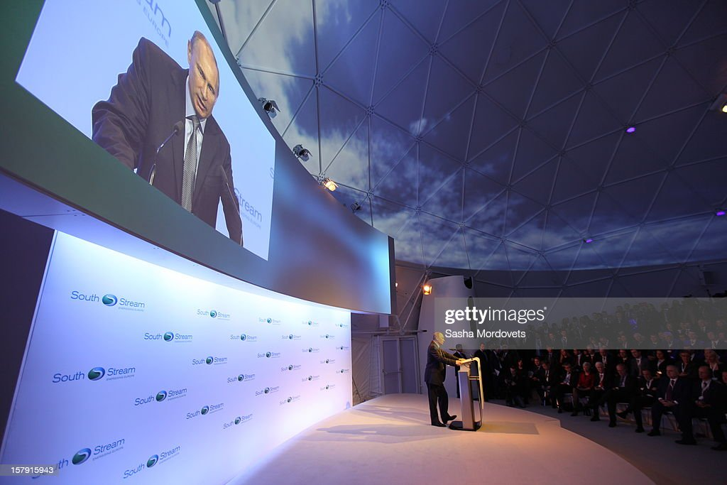 Russian President <a gi-track='captionPersonalityLinkClicked' href=/galleries/search?phrase=Vladimir+Putin&family=editorial&specificpeople=154896 ng-click='$event.stopPropagation()'>Vladimir Putin</a> opens the construction site of the South Stream, a proposed gas pipeline December 7, 2012 in Anapa, Russia. The pipeline will transport Russian natural gas through the Black Sea to Bulgaria, Greece, Italy and Austria.
