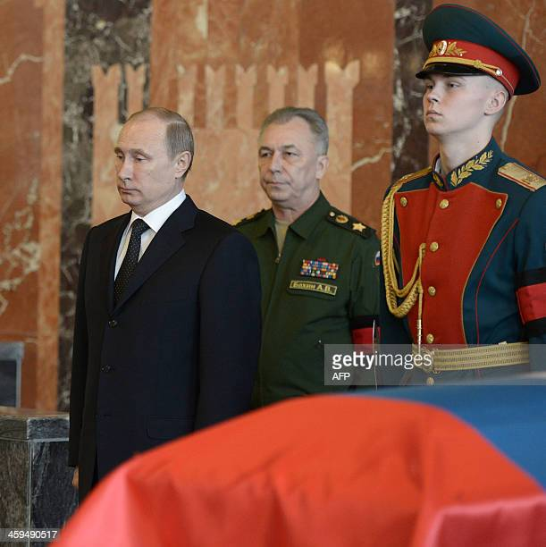 Russian President Vladimir Putin pays his last respects to Mikhail Kalashnikov the designer of the iconic AK47 assault rifle that was the favoured...