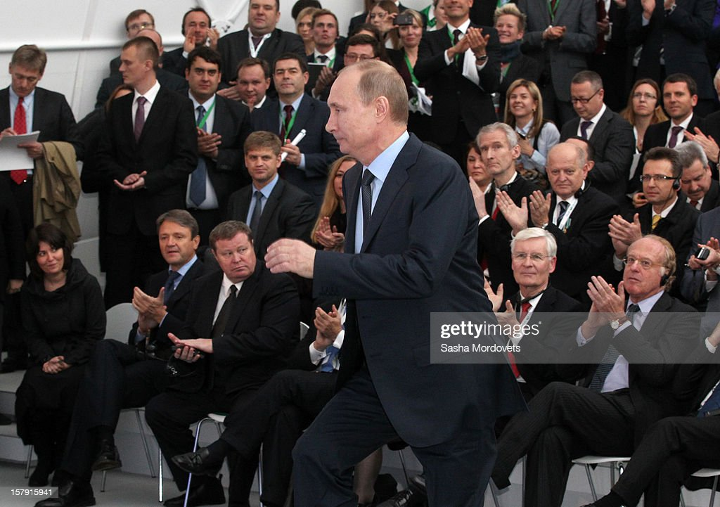 Russian President <a gi-track='captionPersonalityLinkClicked' href=/galleries/search?phrase=Vladimir+Putin&family=editorial&specificpeople=154896 ng-click='$event.stopPropagation()'>Vladimir Putin</a> prepares to give a speech to open the construction site of the South Stream, a proposed gas pipeline December 7, 2012 in Anapa, Russia. The pipeline will transport Russian natural gas through the Black Sea to Bulgaria, Greece, Italy and Austria.