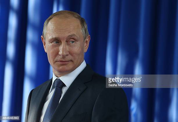 Russian President Vladimir Putin President Vladimir Putin attends the launch ceremony for a technical tunnel at the Sheskharis transshipment terminal...