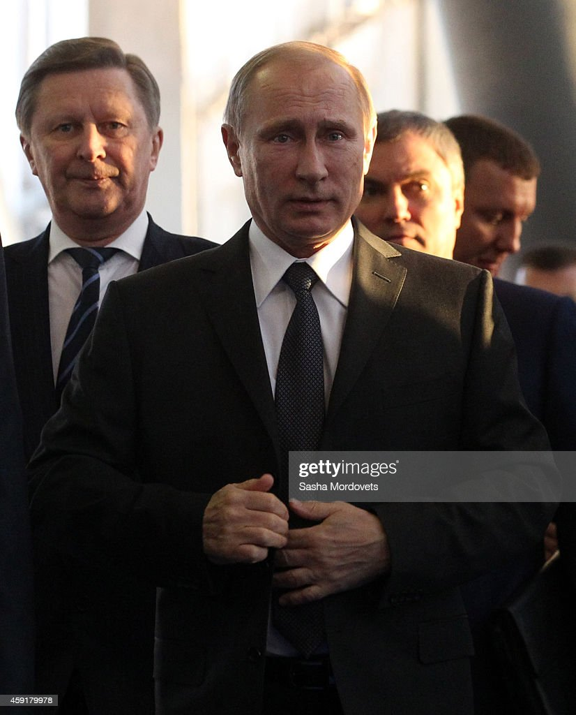 Russian President Vladimir Putin Presidential Chief of Staff Sergei Ivanov and First Deputy Chief of Staff Vyacheslav Volodin are seen visiting an...