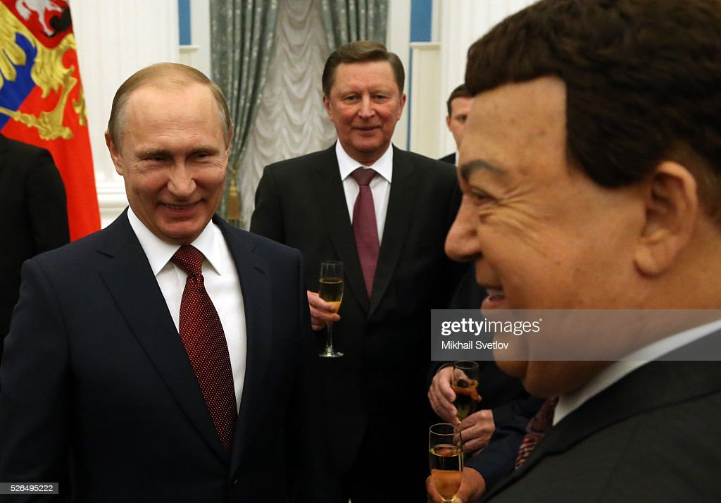 Russian President <a gi-track='captionPersonalityLinkClicked' href=/galleries/search?phrase=Vladimir+Putin&family=editorial&specificpeople=154896 ng-click='$event.stopPropagation()'>Vladimir Putin</a>, Presidential Chief of Staff <a gi-track='captionPersonalityLinkClicked' href=/galleries/search?phrase=Sergei+Ivanov&family=editorial&specificpeople=220668 ng-click='$event.stopPropagation()'>Sergei Ivanov</a> (C) and Soviet songs pop singer, State Duma Deputy Joseph Kobzon (R) during the awarding ceremony at the Kremlin April, 30, 2016 in Moscow, Russia. Putin presented Hero of Labour medals to five winners. The awards were given to Russians who made a considerable contribution to the country's social and economic development, including development of culture, education, industry and agriculture.