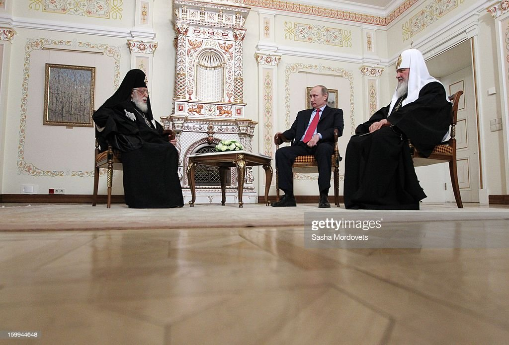Russian President Vladimir Putin (C) receives Catholicos-Patriarch of All Georgia Ilia II (L) and All Russia Patriarch Kirill (R) at the Novo Ogaryovo State residence on January 23, 2013 outside of Moscow, Russia. The Catholicos-Patriarch of All Georgia is the spiritual leader of the Georgian Orthodox Church.