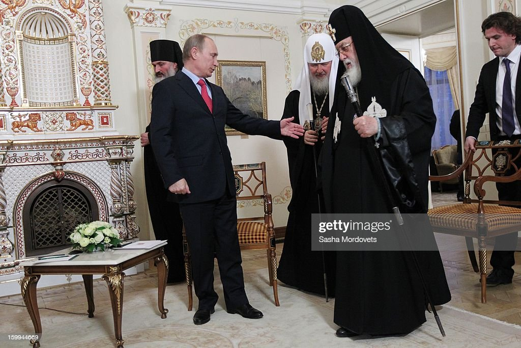 Russian President Vladimir Putin (L) receives Catholicos-Patriarch of All Georgia Ilia II (2nd R) and All Russia Patriarch Kirill (C) at the Novo Ogaryovo State residence on January 23, 2013 outside of Moscow, Russia. The Catholicos-Patriarch of All Georgia is the spiritual leader of the Georgian Orthodox Church.