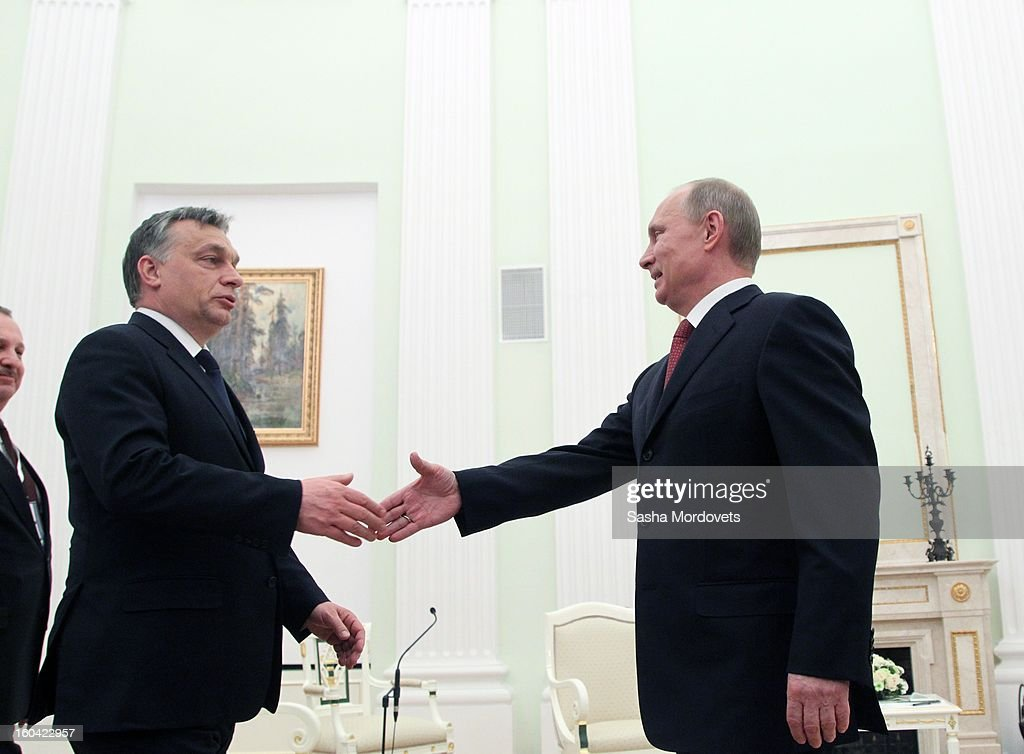 Russian President Vladimir Putin (R) receives Hungarian Prime Minister Viktor Orban (L) in the Kremlin on January 31, 2013 in Moscow, Russia. Orban is on a one-day visit to Russia.