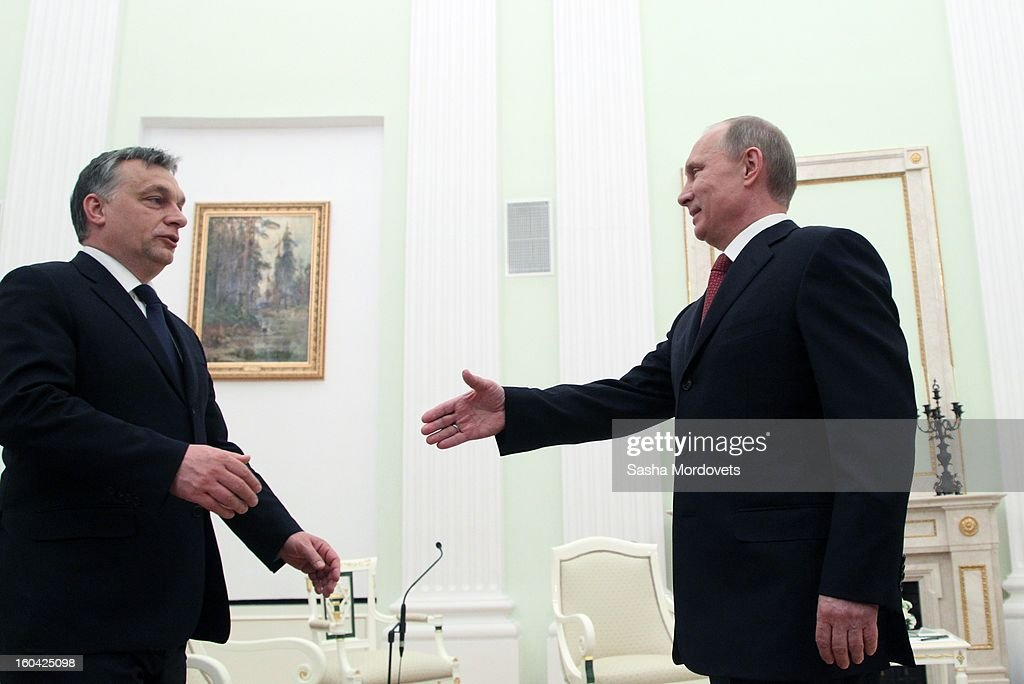 Russian President <a gi-track='captionPersonalityLinkClicked' href=/galleries/search?phrase=Vladimir+Putin&family=editorial&specificpeople=154896 ng-click='$event.stopPropagation()'>Vladimir Putin</a> (R) receives Hungarian Prime Minister <a gi-track='captionPersonalityLinkClicked' href=/galleries/search?phrase=Viktor+Orban&family=editorial&specificpeople=4685765 ng-click='$event.stopPropagation()'>Viktor Orban</a> (L) in the Kremlin on January 31, 2013 in Moscow, Russia. Orban is on a one-day visit to Russia.