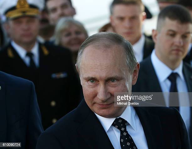 Russian President Vladimir Putin seen while visiting the SCF Black Sea Tall Ship Regatta 2016 at the Sea port of Sochi Russia on September 2016