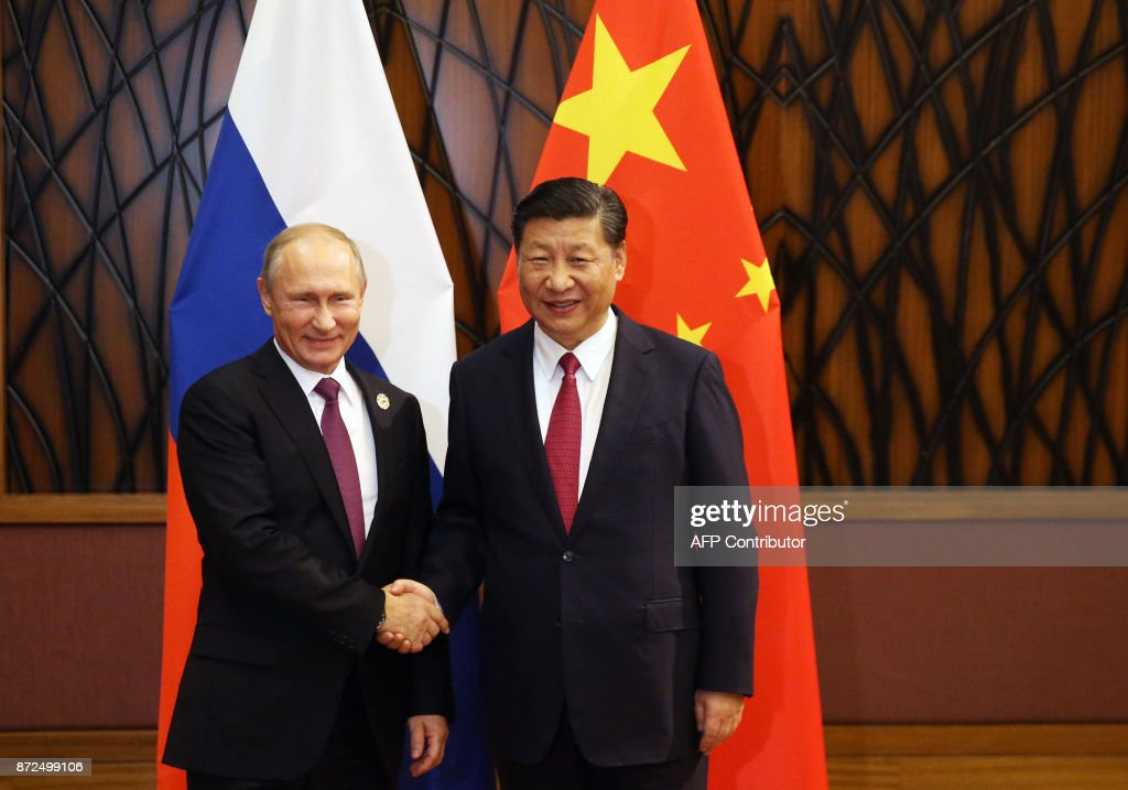 Russian President Vladimir Putin (L) shakes hands with China's President Xi Jinping during a meeting on the sidelines of the Asia-Pacific Economic Cooperation (APEC) leaders' summit in the central Vietnamese city of Danang on November 10, 2017. / AFP PHOTO / Sputnik / Konstantin ZAVRAZHIN
