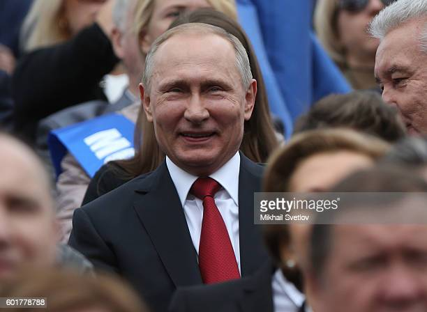 Russian President Vladimir Putin smiles during the City Day opening ceremont at Red Square on September 10 2016 in Moscow Russia Moscow celebrates...
