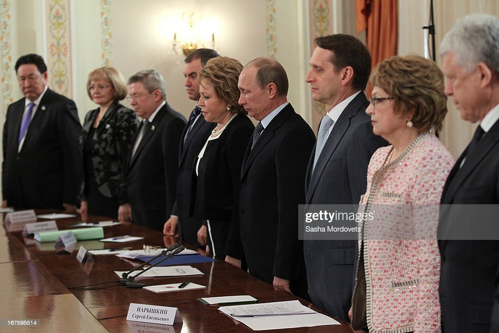 Russian President <a gi-track='captionPersonalityLinkClicked' href=/galleries/search?phrase=Vladimir+Putin&family=editorial&specificpeople=154896 ng-click='$event.stopPropagation()'>Vladimir Putin</a> (4R), Speaker of the Federation Council Valentina Matviyenko (C), Chairman of the State Duma Sergey Naryshkin (3R) and top officials hold a minute of silence to mourn the victims of the Ramensky psychiatric hospital fire during a meeting at a state residence April 26, 2013 outside Moscow, Russia. Putin held a moment of silence for 38 people killed in a fire at a psychiatric hospital in the village of Ramensky north of Moscow early today.