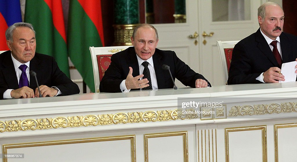 Russian President Vladimir Putin (C), speaks as Kazakh President Nursultan Nazarbayev (L) and Belarus President Alexander Lukashenko look on at the Summit of Collective Security Treaty Organisation (CSTO) on December 19, 2012 in Moscow, Russia. Leaders of Russia, Belarus, Kazakhstan, Kyrgyzstan and Armenia have gathered at the Kremlin in Moscow for the summit.