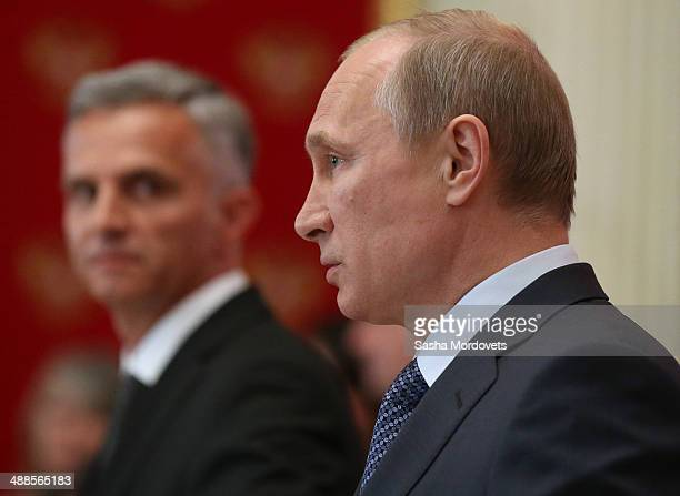 Russian President Vladimir Putin speaks at a press conference with OSCE Chairmaninoffice Didier Burkhaler on May 7 2014 in the Kremlin Moscow Russia...