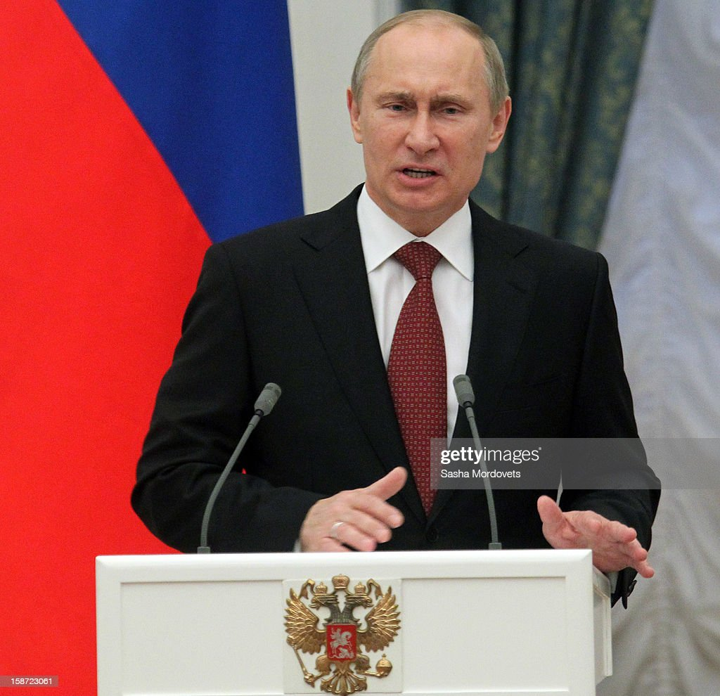 Russian President <a gi-track='captionPersonalityLinkClicked' href=/galleries/search?phrase=Vladimir+Putin&family=editorial&specificpeople=154896 ng-click='$event.stopPropagation()'>Vladimir Putin</a> speaks at an awards ceremony at the Kremlin on December 26, 2012 in Moscow, Russia. Putin awarded 40 actors, scientists, writers and other people in an annual ceremony for achievements in 2012.