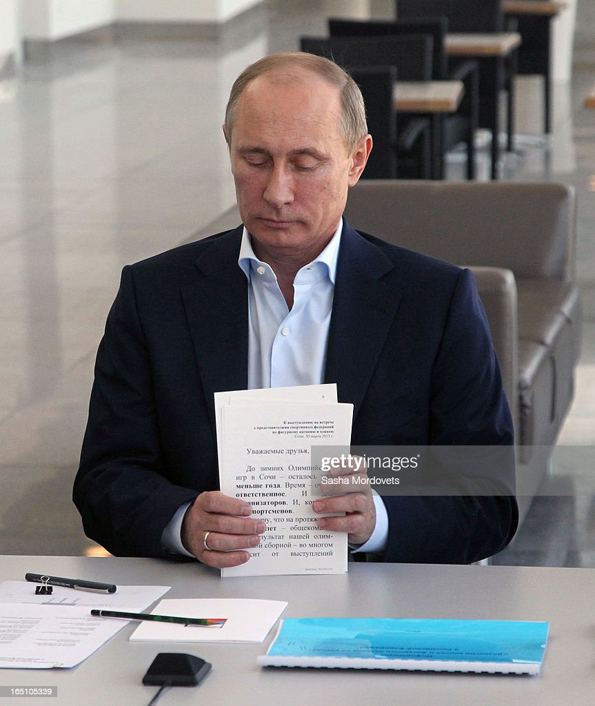Russian President <a gi-track='captionPersonalityLinkClicked' href=/galleries/search?phrase=Vladimir+Putin&family=editorial&specificpeople=154896 ng-click='$event.stopPropagation()'>Vladimir Putin</a> speaks at the Bolshoy Ice Dome, an ice hockey arena during a meeting with members of Russian Figure Scating Federation and Russian Ice Hockey Federation in the Sochi Olympic Park on March, 2013 in Russia. Sochi will host the 2014 Winter Olympics.