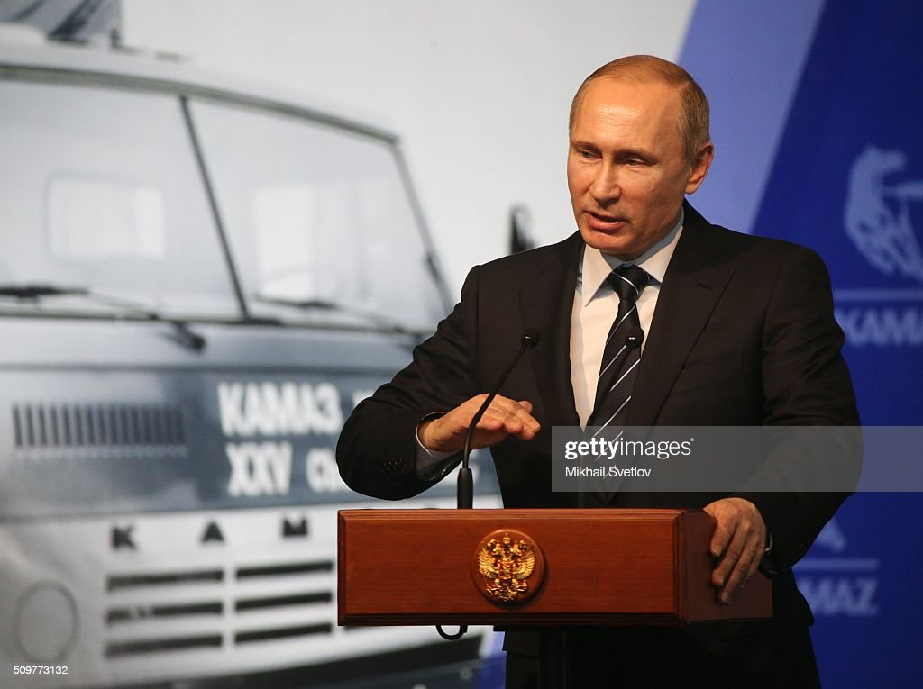Russian President <a gi-track='captionPersonalityLinkClicked' href=/galleries/search?phrase=Vladimir+Putin&family=editorial&specificpeople=154896 ng-click='$event.stopPropagation()'>Vladimir Putin</a> speaks during a meeting at the Kamaz plant on February 12, 2016 in Naberezhnye Chelny, Russia. Putin visited Kamaz, a Russian truck manufacturer, to mark 40 years since the start of production.